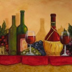 A cheerful display of wine - Acrylic on Canvas 22x28